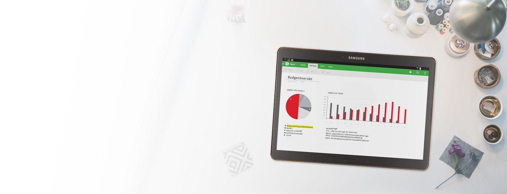 En surfplatta med en budgetöversikt i form av diagram och grafer i en OneNote-anteckningsbok