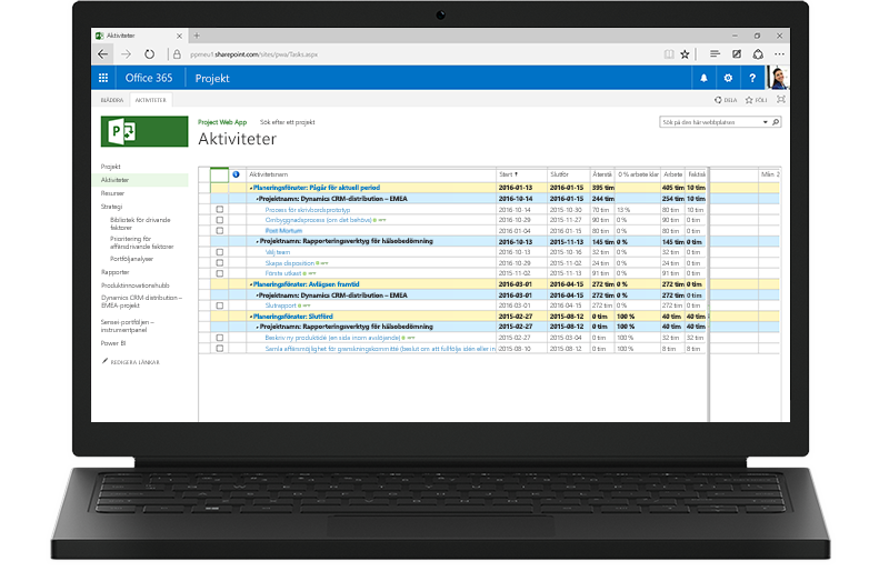 En bärbar dator visar en Project-aktivitetslista i Office 365 på skärmen.