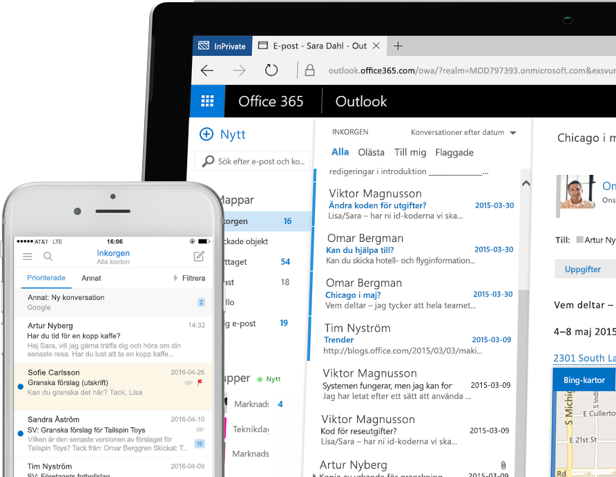 Exchange 2016 på en smartphone och en Windows-surfplatta