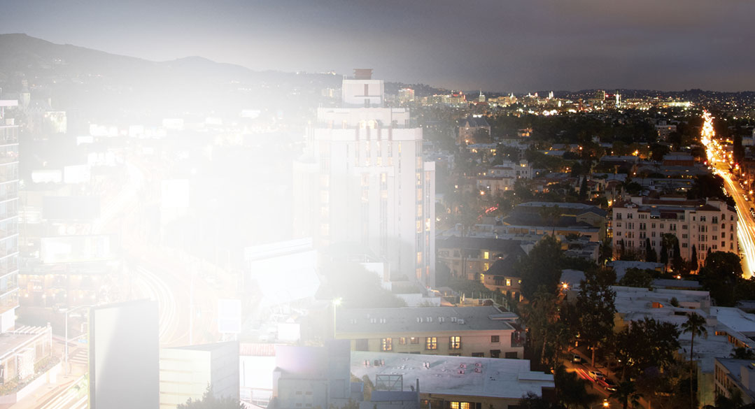 Vy över en storstad nattetid. Läs kundberättelser om Exchange från hela världen.