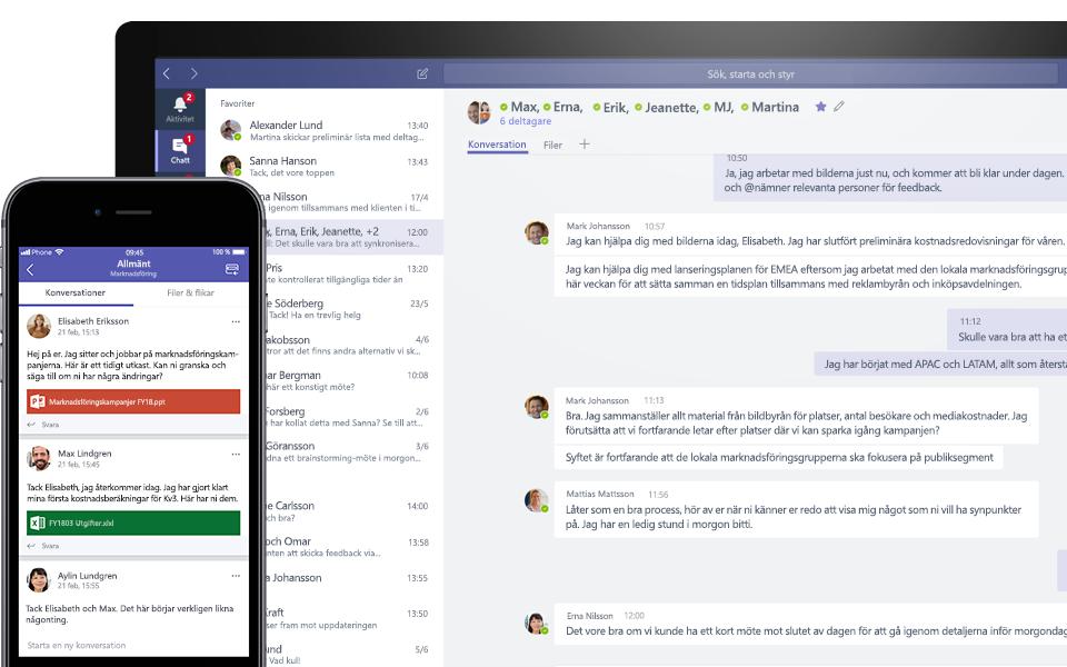 Teams-konversation på en mobil enhet och en skrivbordsenhet