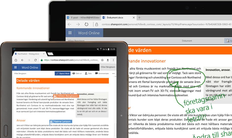 En bärbar dator och en surfplatta med Word Online