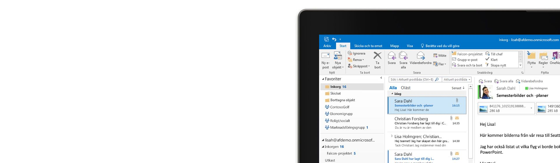 Microsoft Outlook körs på en surfplatta med ett meddelandegranskningsfönster öppet