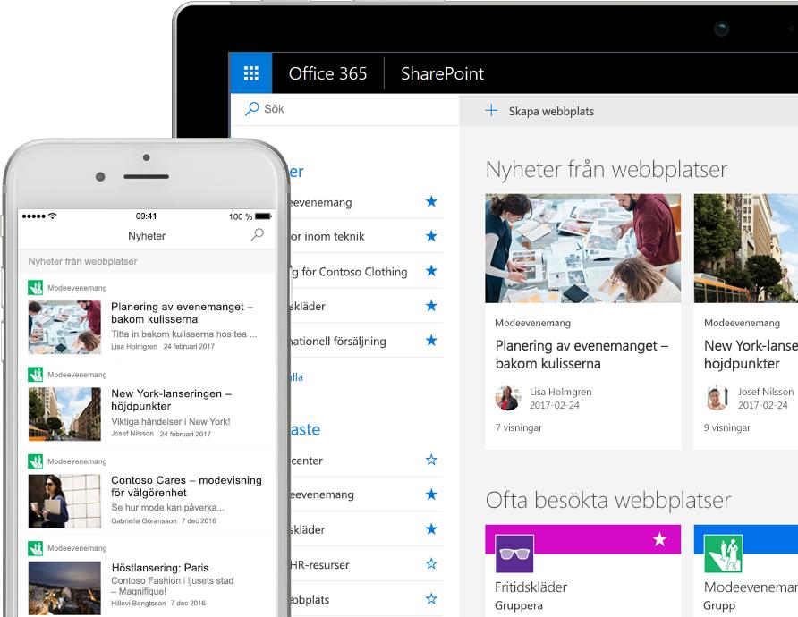 SharePoint med nyheter på en smartphone och med nyheter och platskort på en surfplatta