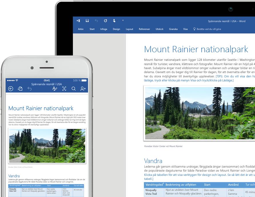 En mobiltelefon och en bärbar dator med ett Word-dokument om Mount Rainier National Park