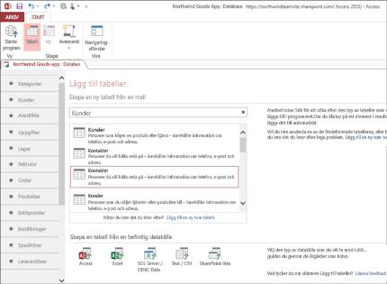 Skärmbild av en databasapp i Access 2013 som visar hur enkelt det är att lägga till tabeller.