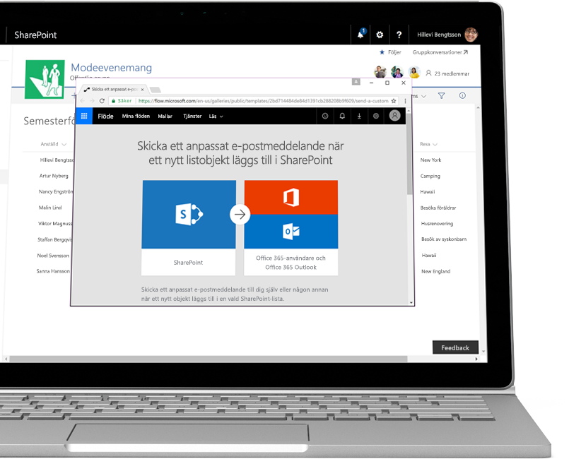 En SharePoint-lista med begäranden om ledighet och en automatisering i Flow för att skicka ett anpassat e-postmeddelande när någon lägger till en ny ledighetsbegäran