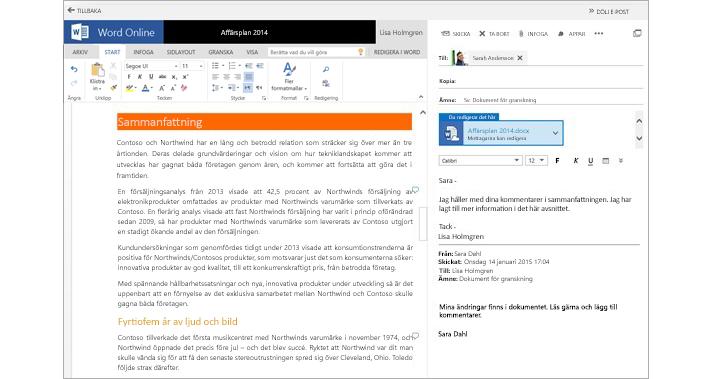 Ett e-postmeddelande som visas bredvid ett förhandsgranskningsfönster för ett bifogat dokument med hjälp av Word Online