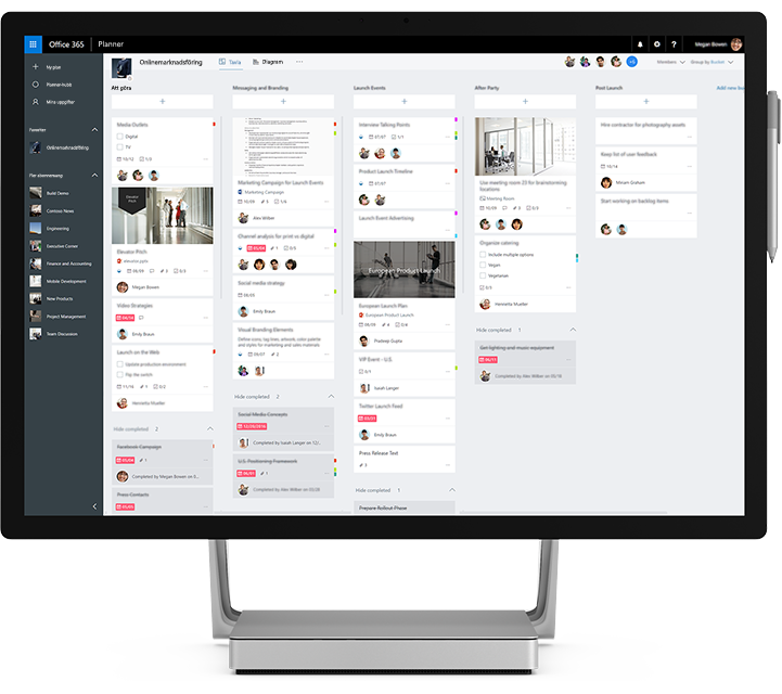 En bärbar dator som visar hur Microsoft Planner används för att hantera gruppens uppgifter och information.