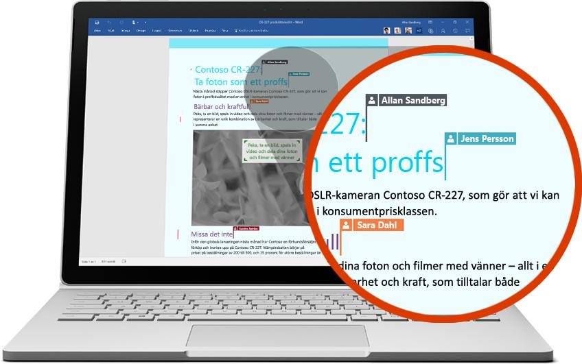 Bärbar dator som visar flera användare som samarbetar med ett Word-dokument