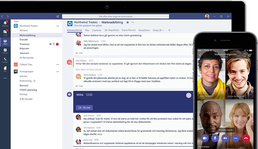 Teams-konversation på en skrivbordsenhet och Teams-videokonferens på en mobil enhet