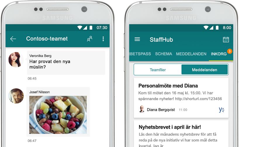 en mobiltelefon som visar en StaffHub-chatt bredvid en mobiltelefon som visar ett företagsmeddelande i StaffHub