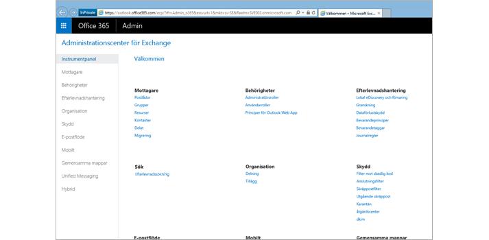 Närbild av administrationscentret för Exchange Online.