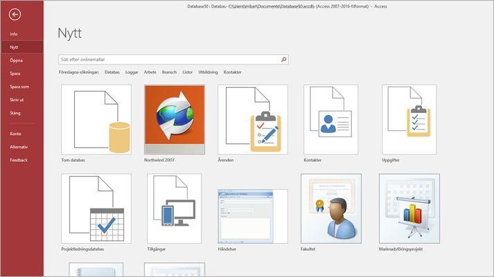 Skärmen för en ny databas i Microsoft Access
