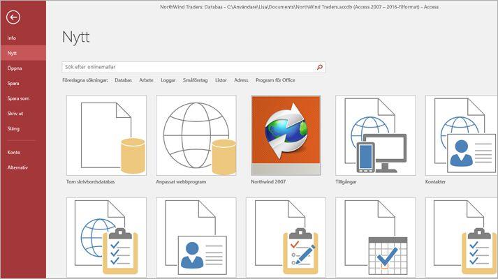Fönstret Ny databas i Microsoft Access.