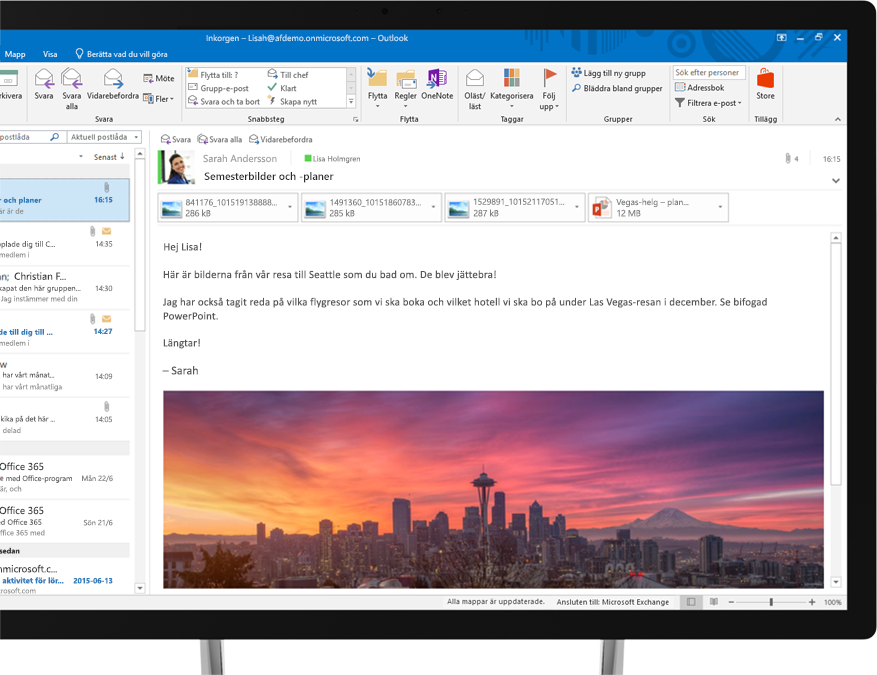 Ett e-postmeddelande i Office 365 visar en inbäddad bild av Seattle siluett