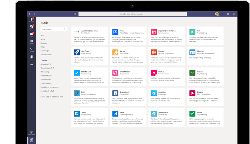 Microsoft App Store visas i Teams
