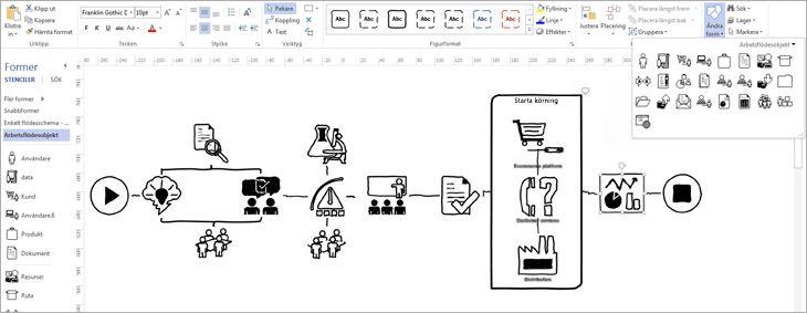 En Visio-sida med alternativ för att anpassa designen av ett diagram.