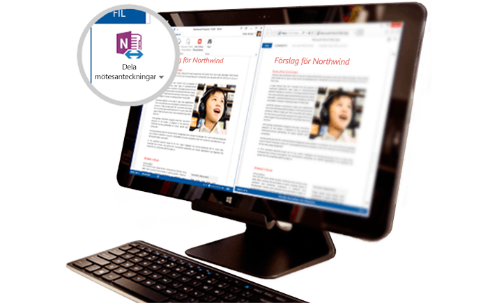 En Surface Book som visar delat mötesinnehåll.