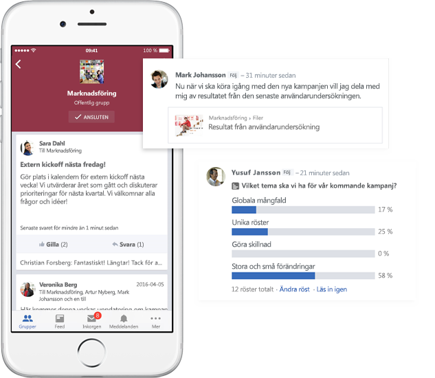 A mobile phone showing conversations, polls, and file sharing in Yammer groups