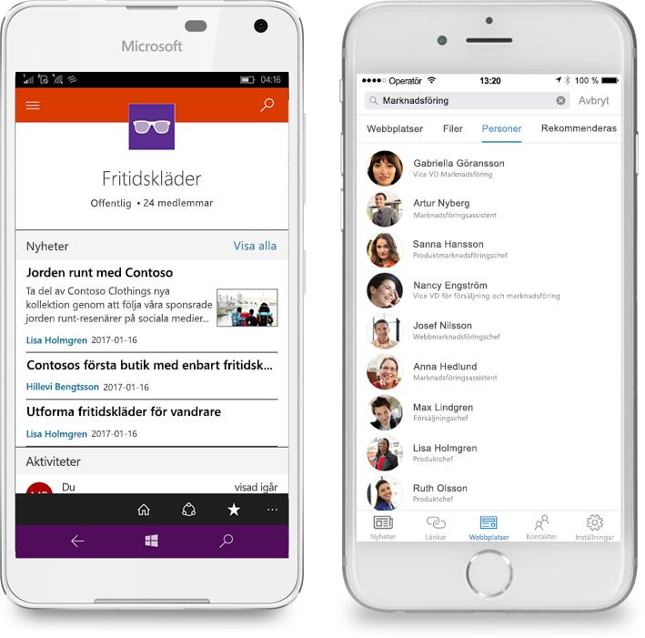 Två smartphones där SharePoint-mobilappen körs