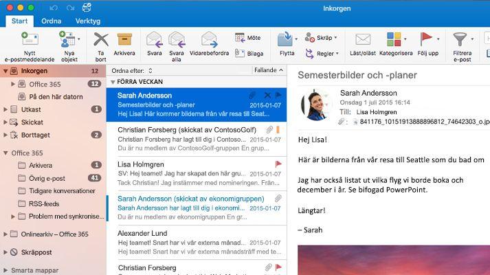 Skärmbild av en inkorg i Microsoft Outlook 2016 med en meddelandelista och förhandsgranskning.