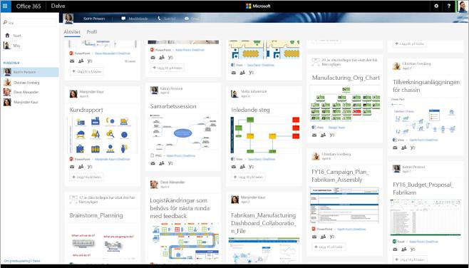 En skärmbild i Office 365 som visar relevanta personer och Visio-diagram i Delve.
