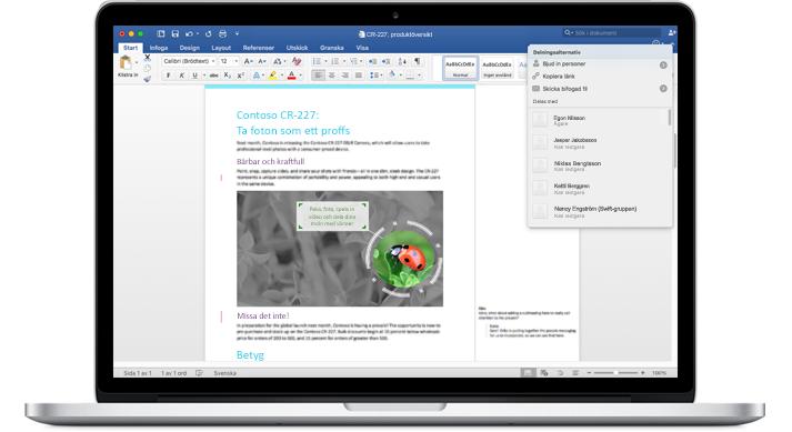 En bärbar dator med ett Word-dokument med kommentarer och menyn Delningsalternativ.