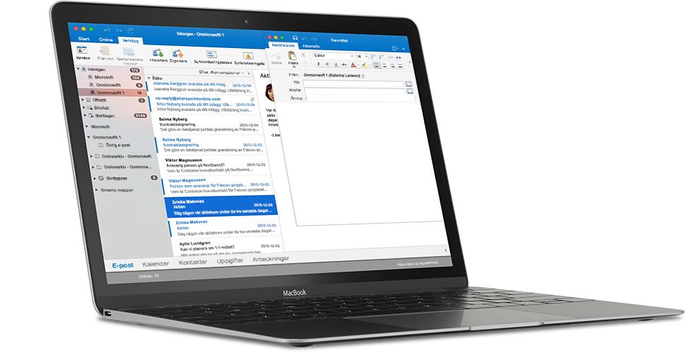En MacBook som visar en inkorg i Outlook för Mac