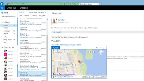 Närbild på en användares inkorg i Exchange-baserade Outlook Web App.