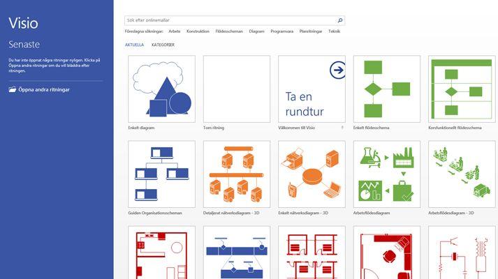 En Visio-skärmbild som visar nyligen använda filer och aktuella Visio-mallar.