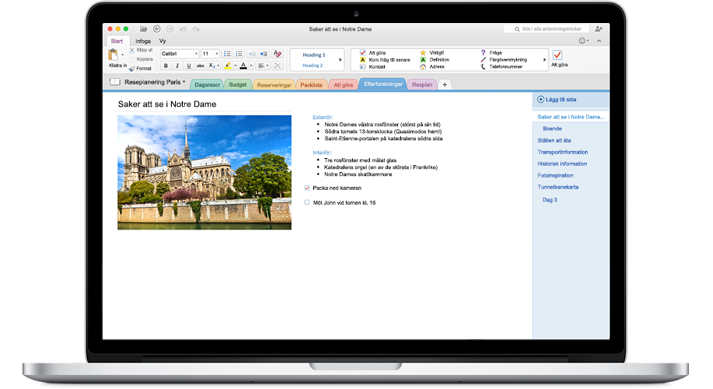 En MacBook som visar en öppen anteckningsbok i nya OneNote för Mac.