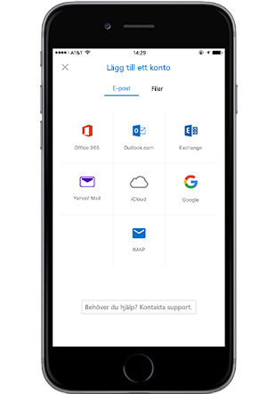 Outlook-appen på iPhone, lägg till en bilaga