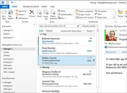 Skärmbild av en inkorg i Microsoft Outlook 2013 med en meddelandelista och förhandsgranskning.