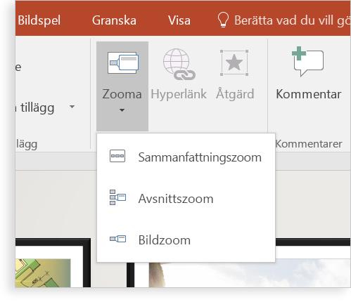 En surfplatta som visar en PowerPoint-bild med zoomfunktionen