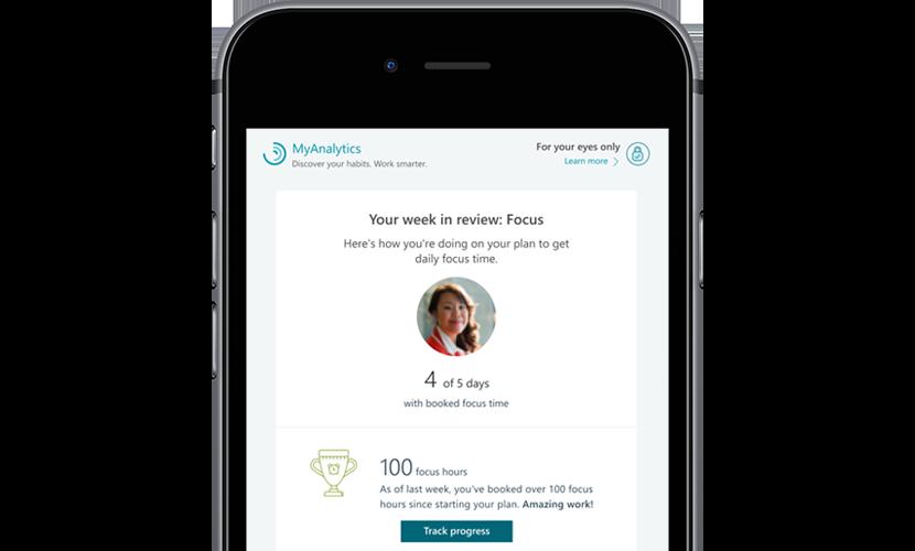 Närbild på en skärm på en mobil enhet som visar MyAnalytics-sidan med veckans statistik gällande fokus