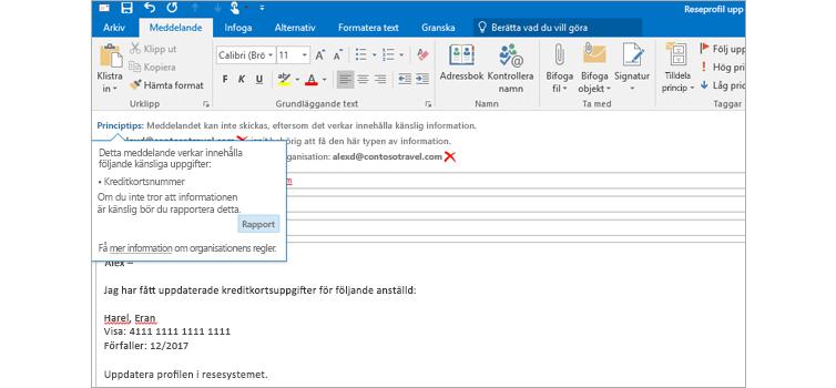Närbild på ett e-postmeddelande med ett policytips om att användarna inte bör skicka känslig information.