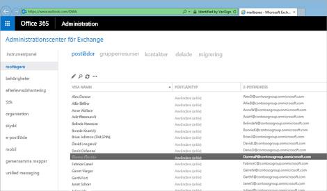 Närbild på en sida i Administrationscentrer för Exchange, där du hanterar e-postsystemet.