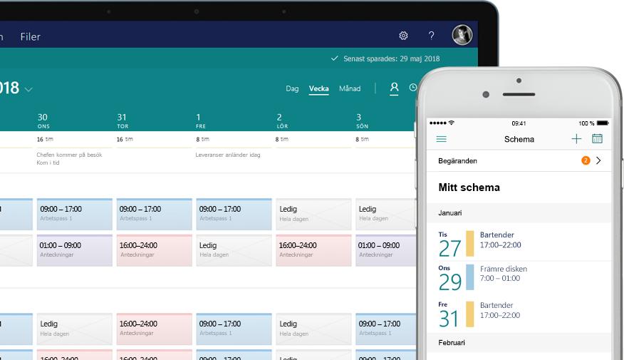en stationär dator som visar ett schema, och en mobiltelefon som visar uppgiftsskärmen med tilldelade och slutförda uppgifter