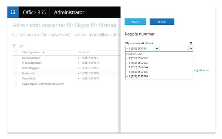 Bärbar dator som visar administrativa verktyg i Skype för företag – Server