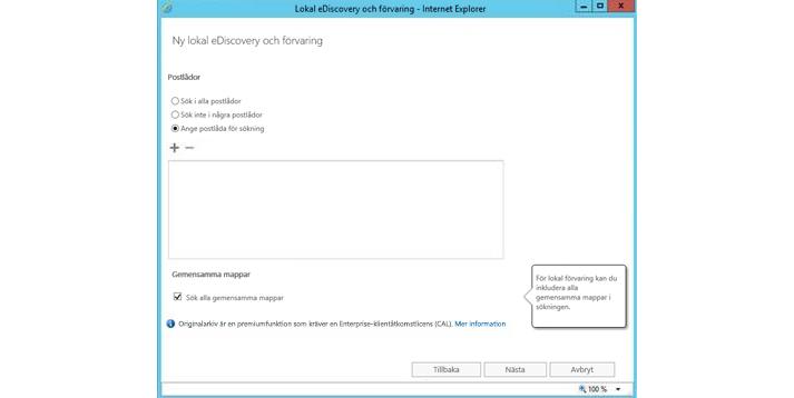 Ett Internet Explorer-fönster med funktionen för lokal eDiscovery och bevarande av juridiska skäl