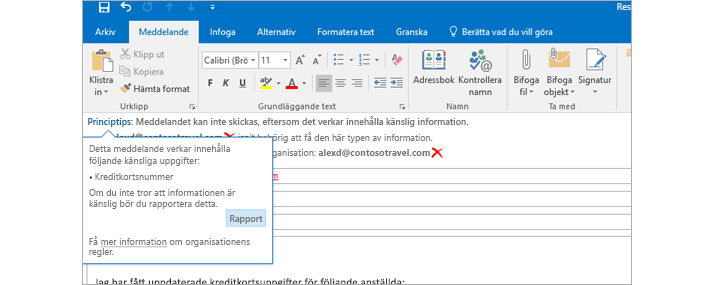Närbild av ett e-postmeddelande med ett principtips om att användarna inte bör skicka känslig information.