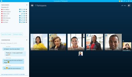 En skärmbild av en Skype för företag-startskärm med miniatyrer av kontakter och anslutningsalternativ.