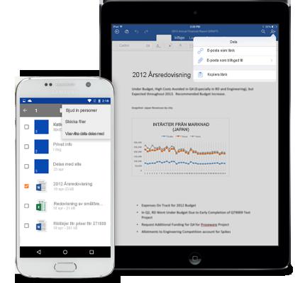 En pekplatta och en smarttelefon med menyn Dela i OneDrive för företag.