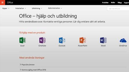 Skärmbild med Office-hjälp och utbildning i Office 365