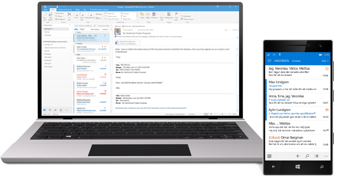 En surfplatta och en smartphone som visar en e-postinkorg för Office 365.