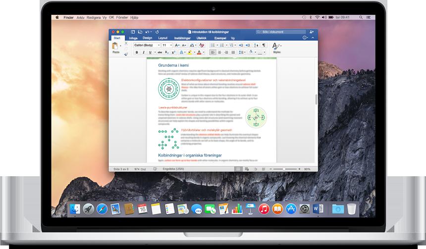 En MacBook som visar ett öppet Word-dokument på startskärmen, få mer information om program och funktioner i Office för Mac