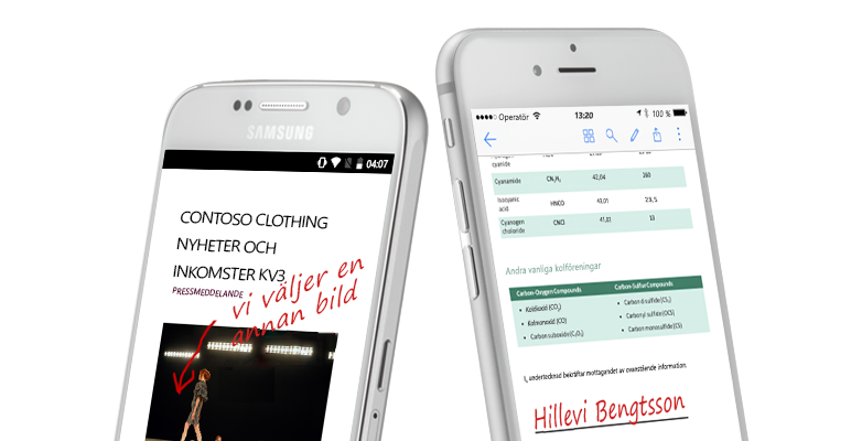 Två smartphones med dokument och handskrivna anteckningar om dem