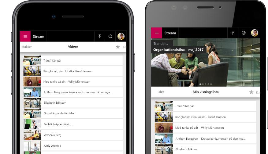 Två smartphones, en med en lista över Stream-videor och den andra med menyn Min visningslista för videor i Stream