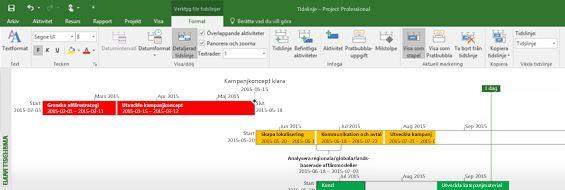 Skärmbild av en öppen projektfil i Project Professional